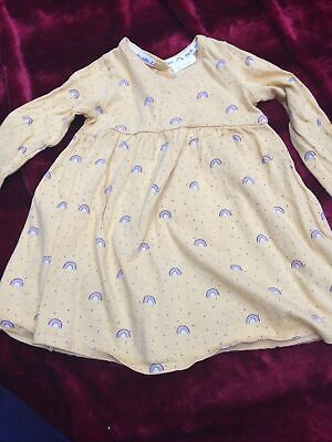 Baby Girls Pretty Rainbows Jersey Dress Outfit 12-18 Months Next Yellow  • 0.99£
