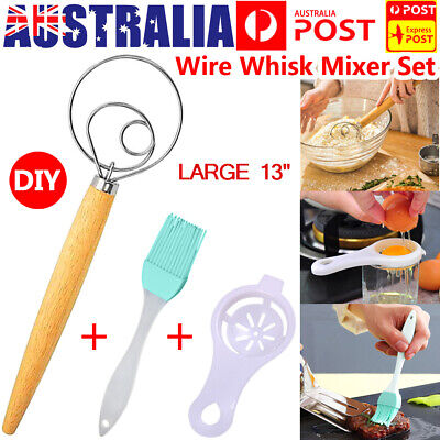 AU13.39 • Buy Baking Large 13  Stainless Steel Dutch Whisk Danish Dough Mixer Bread Brush AU