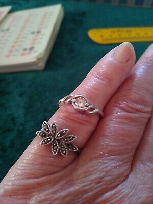 Vintage Art Deco Style Marquisite & Silver Ring Approx Size ,L 1/2 & Cz 925 Ring • 5£