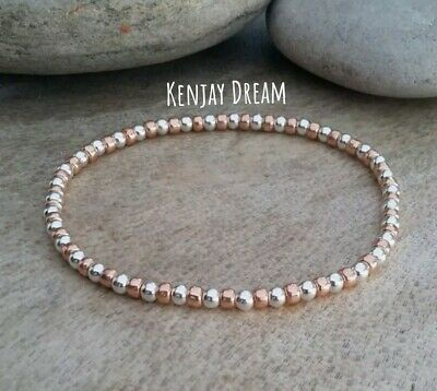 £3.99 • Buy Silver And Rose Gold Plain Beaded Bracelet Stretch Stacking Surfer Style