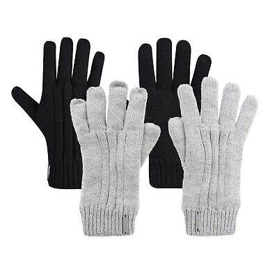 £10.99 • Buy Ladies Firetrap Winter Micro Fleece Lining Knitted Cable Gloves