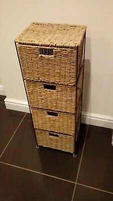 Natural Rattan 4 Drawer Basket Storage Slim Tower Unit : Bedroom Or Bathroom  • 23£
