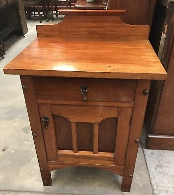 AU355 • Buy Antique Edwardian Blackwood Large Bedside Table Cabinet Cupboard