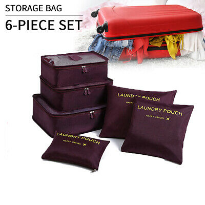AU12.46 • Buy 6x Packing Cubes Travel Luggage Organiser Clothes Suitcase Storage Bag Wine Red