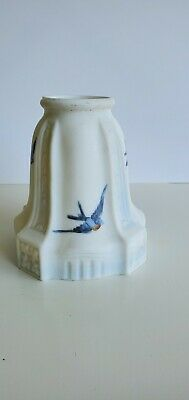 $55 • Buy Vintage Frosted White Blue Milk Glass Lampshade Hand Painted Birds Signed