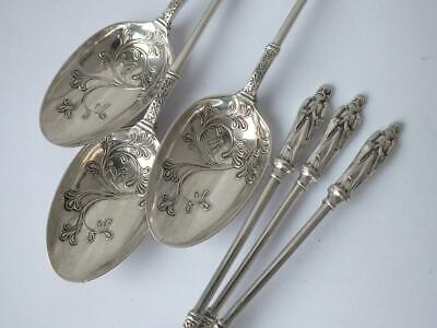 Good Set Of 6 Victorian Apostle Top Sterling Silver Tea Spoons 1892/ 12 Cm/ 86g • 53£
