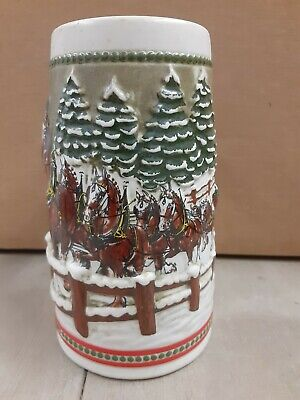 $ CDN7.77 • Buy 1984 Budweiser Holiday Beer Stein Mug Hitch Covered Bridge Snow Horses Vintage