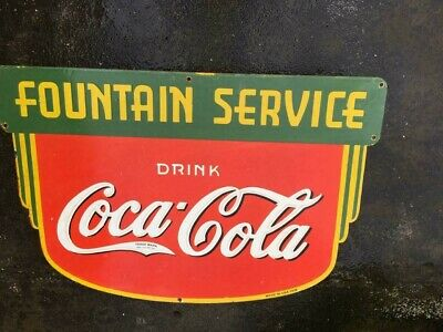 $ CDN99.78 • Buy Porcelain Coca Cola Fountain Service Enamel Sign 36 X 24 Inches Double Sided