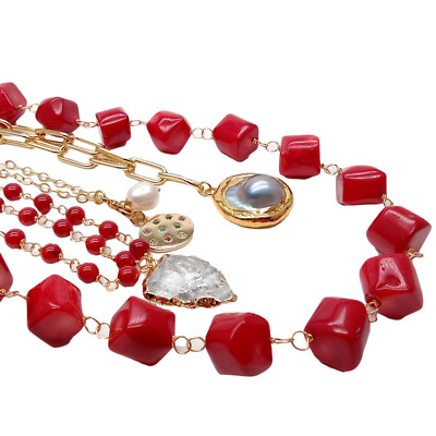$46.93 • Buy 17  Red Coral Gold Plated Chain Necklace Mabe Pearl Quartz Pendant