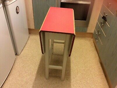 Vintage Small Drop Leaf Red And White Formica Dining Table • 30£