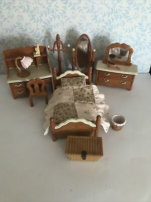 Sylvanian Families~ Vintage JAPANESE Bedroom Furniture~ Brown Bedroom Set EC • 65£