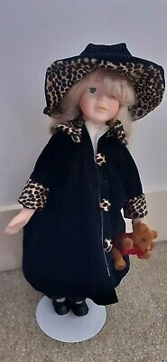 Porcelain Doll With Teddy. Black Coat With Leopard Print, Hat, Shoes, Ringlets • 3£
