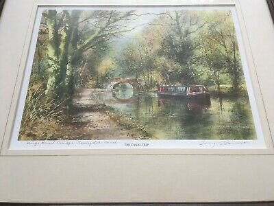 Signed Terry Harrison Print-The Canal Trip - Kings Head Bridge Basingstoke Canal • 19.95£