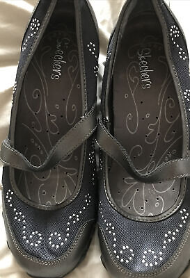BNWOB Sketchers Ladies Mary Jane Shoes Black Bronze And Sparkle Size 6 • 4.99£