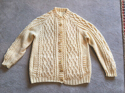 Womens Cable Knit Cardigan Aran Style Handknitted Size M Cream • 9.50£