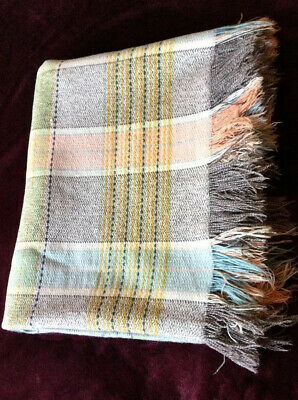 Welsh Wool Double Fringed Blanket Large Throw 70 X 84 Inches • 40£