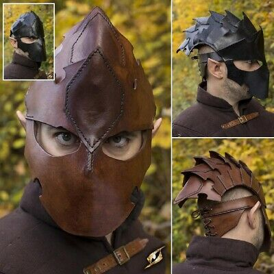 £64 • Buy Assassins Quality Leather Helmet. Perfect For Stage Costume & LARP 2 Colours