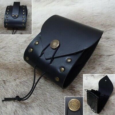 £25 • Buy Medieval / Viking Riveted Black Leather Pouch. Ideal For Costume Or LARP