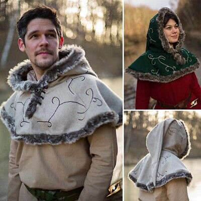 £36 • Buy Larp Fur Lined Hood Perfect For Stage And Costume, LARP Events Or Re-enactment