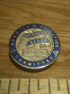 Norwich Education Committee Employment Lapel Badge No 1443 Home Front WWII Era • 9.99£