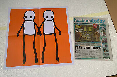 Stik Hackney Today Limited Print Poster Orange Newspaper Inc - Mint Condition • 94.95£