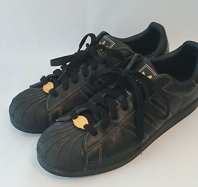 $ CDN47.56 • Buy Men's Adidas Superstar Black Gold Leather Sneakers Size 12