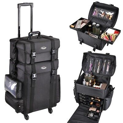 AW Professional Makeup Artist Carry Case Cosmetic Trolley Nylon Organizer Box • 117.99£