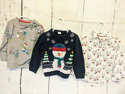 Boys Christmas Jumper Bundle 2-3 Years Dinosaur/Rudolph Shirt • 11.50£