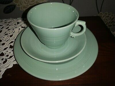 A Trio Of Vintage Wood's Ware Beryl Large Breakfast Cup Saucer & Larger Teaplate • 15£