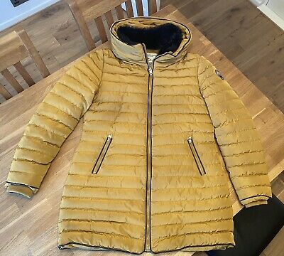 Women Jacket Coat Size 14  Puffer Quilted Large Fur Hood Mustard • 5£