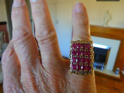 Ruby Solid Silver Gold Overlay Ring Set With 10crts Of Natural Rubys • 350£