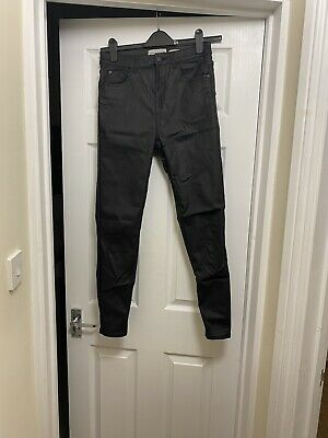 Ladies Size 12 High Waisted Lift &Shape Leather Jeans From New Look • 9.50£