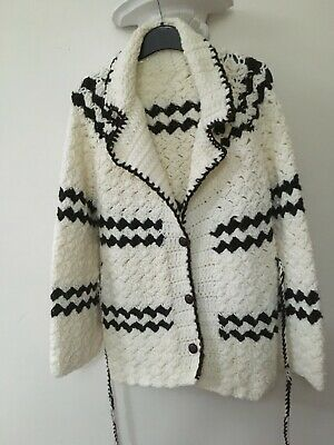 Chunky Vintage Style Hand Knitted  Belted WOOL  Cardigan Jacket  S/M   NEW  • 13.99£