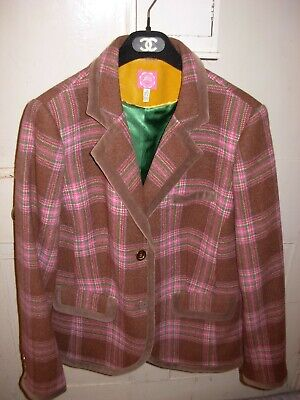 Ladies Joules Grandstand, Tweed, Truffle & Pink Blazer Jacket. Size 18 Maybe 16 • 45£