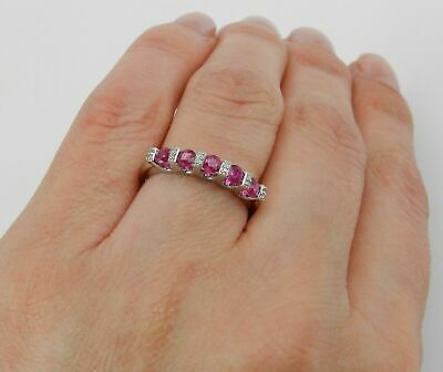 3ct Round Cut Pink Ruby 5 Stone Eternity Engagement Ring 14ct White Gold Over • 99.99£