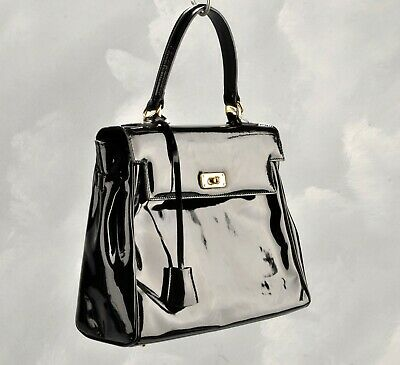 Russell And Bromley Black Patent Tote Bag • 29£