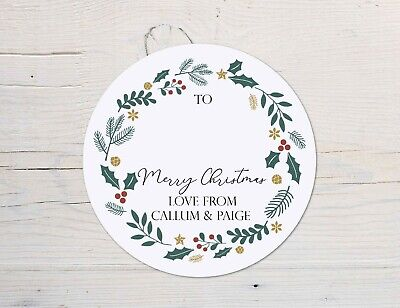 24 Personalised Christmas Label Stickers, Christmas Gift Labels, Gift Tag • 2.75£