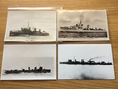 RN Destroyers X 4 - HMS Tiger, Campbell, Fervent & Rival RPPCs And Photos • 3£