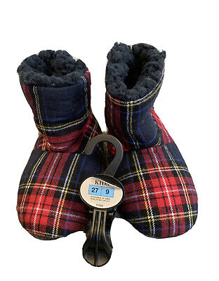 £8.99 • Buy M&s Slipper Boots In Navy/red Tartan Check With Navy Blue Fleece Lining - 9 New
