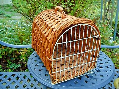 Vintage Wicker Cat Rabbit Small Dog Basket Carrier Bed Leather Straps • 15.99£