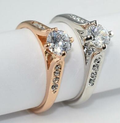 SALE 18K White / Rose Gold Filled Lady 5.5mm Cubic Zirconia Crystal Ring R148g • 5.99£