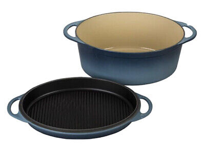 Le Creuset Cast Iron 28cm Oval Casserole With Grill Lid-Marine ( New) • 299£
