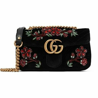 AU1999 • Buy Gucci GG Marmont Small Crystal-embellished Black Velvet Shoulder Bag-Authentic
