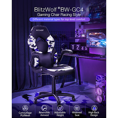 AU123.28 • Buy BlitzWolf Gaming Chair Racing Style Gamer Chairs Home Office Computer Seat PU