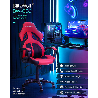 AU123.28 • Buy BlitzWolf Gaming Office Chair Racer Style Gamer Seat Ergonomic High Back PU Mesh