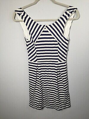 AU22.95 • Buy Forever New Womens Blue And White Striped Fit And Flare Dress Size 8 Sleeveless