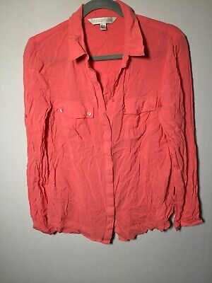 AU21.95 • Buy Forever New Womens Pink Button Up Shirt Blouse Size 12 Long Sleeve Viscose/modal