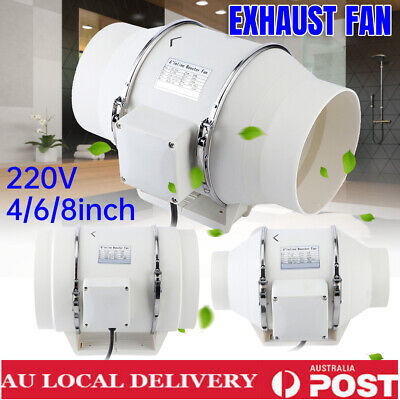 AU83.98 • Buy 2 SPEED INLINE VENTILATION EXHAUST FAN 4/6/8  Inch VENT DUCT EXTRACTOR LOW NOISE