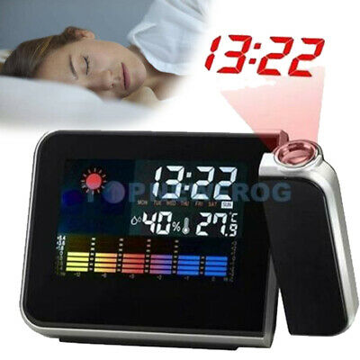 AU12.62 • Buy LCD Digital Alarm Clock Time Projector Weather Thermometer Snooze Color Screen