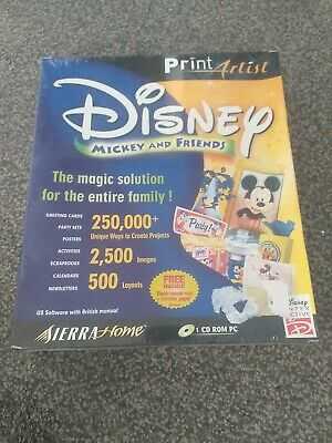 Print Artist - Brand New DISNEY MICKEY AND FRIENDS - PC SOFTWARE SUITE RARE Seal • 42.99£